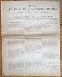 """1887 Advance Sheets of """"Resources of Dakota,"""" A Publication Now in Press by the Commission of Immigration [caption title]"""