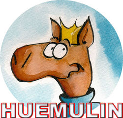huemulin comics bookstore logo
