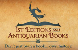 1st Editions and Antiquarian Books, ABA, IOBA bookstore logo