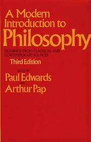 MODERN INTRODUCTION TO PHILOSOPHY, 3RD ED (Free Press Textbooks in Philosophy)