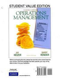 operations management heizer 10th edition Operations management, jay h heizer, barry render, pearson/prentice hall, 2005, 0131230247,  operations management flexible edition 8 th editionnbspdelivers the.