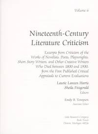 NCLC: NINETEENTH-CENTURY LITERARY CRITICISM; Volume 2. Excerpts from criticism of the works of...