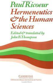 Hermeneutics and the Human Sciences by  Paul Ricoeur - Paperback - 1981 - from Crux Books Inc. and Biblio.com