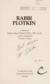 Rabbi Plotkin: A Memoir