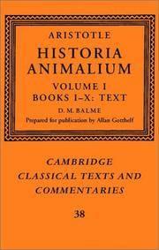 image of Aristotle: 'Historia Animalium': Volume 1, Books I-X: Text (Cambridge Classical Texts and Commentaries) (Vol 1)
