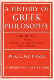 image of A History of Greek Philosophy: Volume 4 Plato: The Man and his Dialogues: Earlier Period