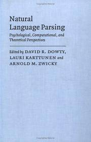Natural Language Parsing: Psychological, Computational, and Theoretical Perspectives (Studies in Natural Language Processing)