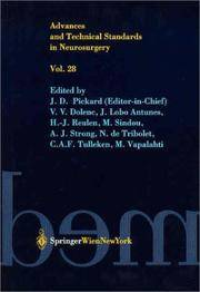 Advances and Technical Standards in Neurosurgery. Vol 28. by J.D. Pickard  - Hardcover  - 2003  - from Doss-Haus Books (SKU: 020364)