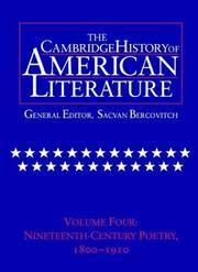 The Cambridge History of American Literature, Vol. 4: Nineteenth-Century Poetry, 1800-1910