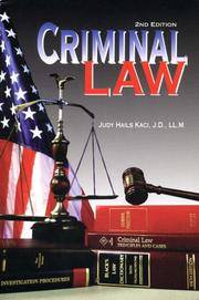 Criminal Law by  Judy Kaci - Paperback - 2001-01-01 - from Cronus Books, LLC. (SKU: SKU1002560)
