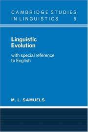 Linguistic Evolution: With Special Reference to English (Cambridge Studies in Linguistics)