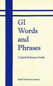 Gi Words and Phrases: A Quick Reference Guide by Health Professions Institute - Paperback - 1989 - from Bingo Used Books (SKU: 142280)
