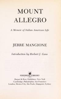 image of Mount Allegro : A Memoir of Italian American Life