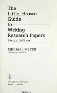 image of The Little, Brown guide to writing research papers