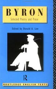 Byron: Selected Poetry and Prose (Routledge English Texts) by Lord Byron; Editor-Donald A. Low - Paperback - 1995-12-06 - from Ergodebooks and Biblio.com