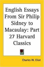 English Essays From Sir Philip Sidney To Macaulay