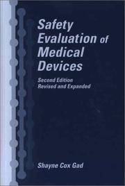 SAFETY EVALUATION OF MEDICAL DEVICES, 2ND EDITION by GAD SHAYNE COX