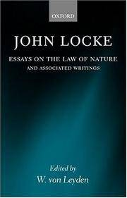 image of Essays on the Law of Nature: The Latin Text with a Translation, Introduction and Notes, Together with Transcripts of Locke's Shorthand in his Journal for 1676