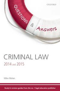 Q & A Criminal Law 2014 & 2015 9 E by Molan Mike - Paperback - from Cold Books and Biblio.com