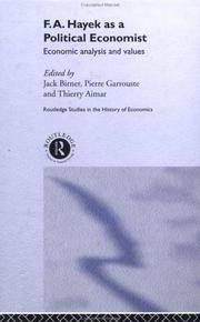 F. A. Hayek as a Political Economist by Pierre Garrouste Thierry Aimar - Hardcover - from Cold Books and Biblio.com