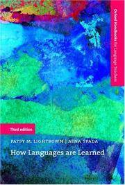 How Languages Are Learned (Oxford Handbooks for Language Teachers) by  Nina  Patsy M.; Spada - Paperback - 3rd - 2006-04-13 - from Blind Pig Books (SKU: AUGUST-09-THRIFT-15245-JM)