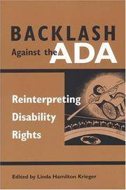 Backlash Against the ADA: Reinterpreting Disability Rights. by  (Editor) Linda Hamilton Krieger - Paperback - First Edition Thus (2003), First Printing indicated by a complet - 2003. - from Black Cat Hill Books and Biblio.com
