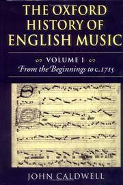 image of The Oxford History of English Music: Volume 1: From the Beginnings to  c.1715