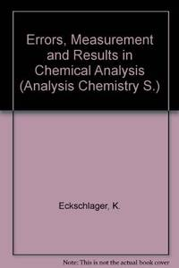 Errors Measurement & Results in Chemical Analysis