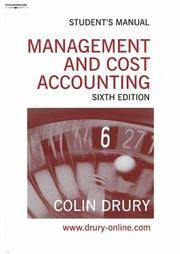 Management And Cost Accounting Student's Manual by Colin Drury - Paperback - 2019 - from OVERSEAS BOOKSTORE and Biblio.com