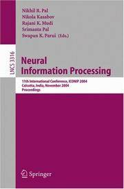 Neural Information Processing: 11th International Conference, ICONIP 2004, Calcutta, India,...