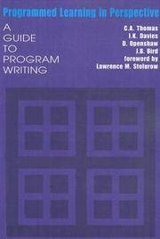 Programmed Learning in Perspective: A Guide to Program Writing