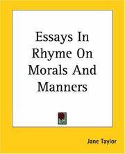 Essays In Rhyme, On Morals and Manners