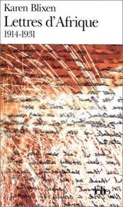 LETTRES D'AFRIQUE 1914-1931