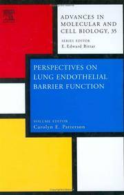 Perspectives on Lung Endothelial Barrier Function, Vol. 35 by C.E. Patterson - First Edition - from Cold Books and Biblio.com