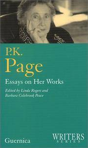 P. K. Page: Essays on Her Works (Writers Series 6) by  Linda Rogers - Paperback - from Green Hill Books and Biblio.com