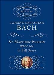 St Matthew Passion Bwv 244 In Full Score