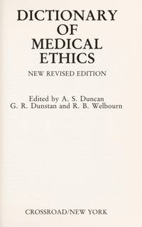Dictionary of Medical Ethics