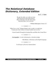 The Relational Database Dictionary Extended Edition