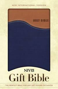 NIV, Gift Bible, Leathersoft, Tan/blue, Red Letter Edition