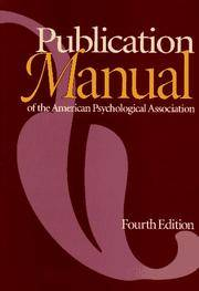 image of Publication Manual of the American Psychological Association, Fourth Edition