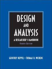 Design and Analysis: A Researcher's Handbook (4th Edition) by  Thomas D  Geoffrey; Wickens - Hardcover - from SGS Trading Inc and Biblio.com