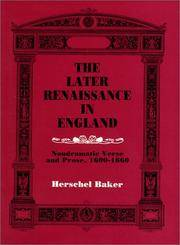 The Later Renaissance In England
