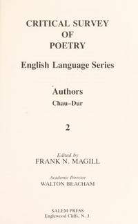 "Critical Survey of Poetry (English Language Series) (Volume 2: Authors ""Chau-Dur"")"
