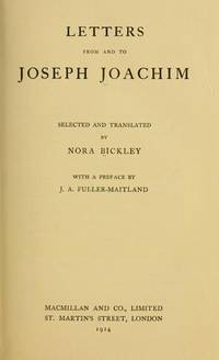 image of Letters from and to Joseph Joachim