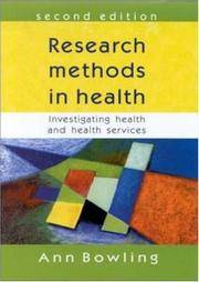 Research Methods in Health: Investigating Health and Health Services by Ann Bowling - Paperback - 1940 - from Anybook Ltd and Biblio.com