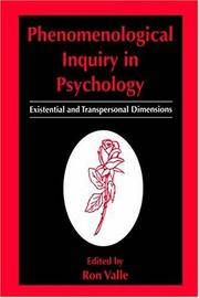 Phenomenological Inquiry in Psychology Existential and Transpersonal  Dimensions