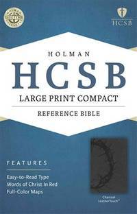 HCSB Large Print Compact Bible, Charcoal LeatherTouch