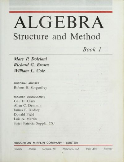 Algebra Structure And Method Book 1 By Brown Dolciani