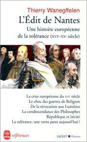 L Edit de Nantes Une Hist. Europ. de La Toler (Ldp References) (French Edition)