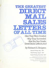 The Greatest Direct Mail Sales Letters Of All Time By Hodgson Richard S